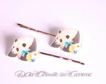Kawaii panda hair clip, Blue Ribbon, flowers