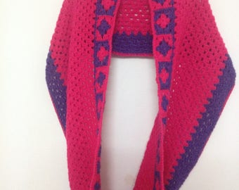 Double strand purple and pink granny crochet scarf