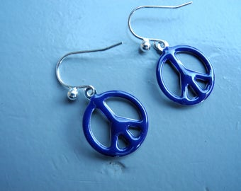 Peace and Love blue enamel and silver buckles