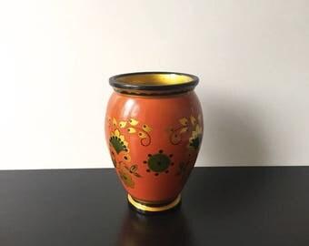 Russian Khokhloma Folk Art. Vintage Russian vase. Hand painted vase. Russian home Decor.  Rustic wood dish. USSR 1970s