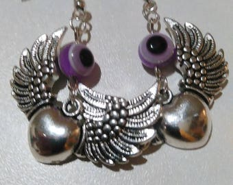 Silver heart with wings and bead earrings