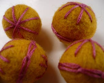 Pearl of felted wool, embroidered, yellow, Pearl, Christmas decoration