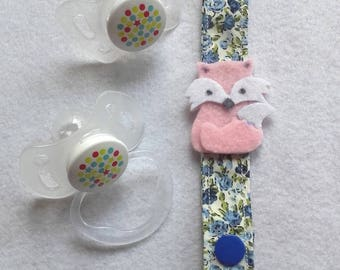 Fabric pacifier clip with blue flowers and felt rose
