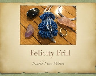 Felicity Frill Hanging Beaded Purse PATTERN ONLY size 11 Seed Beads Knitted Miniture Bag for Tooth Fairy Crystals Jewelry or a perfume pouch
