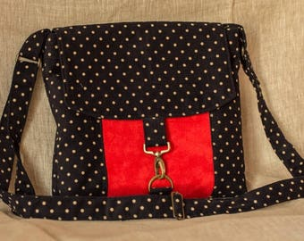 Velvet and suede satchel