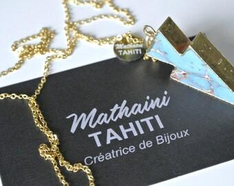 Greenish blue agate stone arrowhead necklace