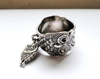 OWL with silver OWL charm ring