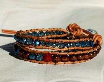 Wrap bracelet leather cord 2 turns