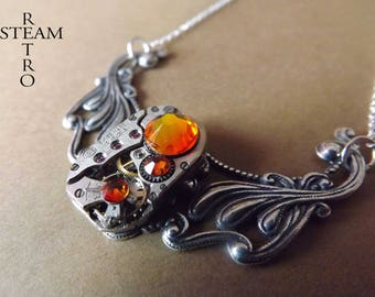 Clockwork Pendant & Meridian Orange Swarovski crystals - jewelry by Steamretro-Steampunk