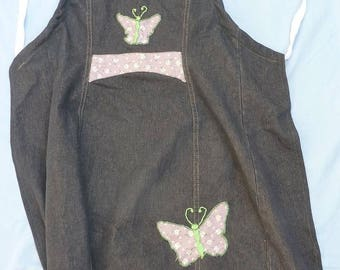 Kitchen apron with butterflies in Liberty recycled denim