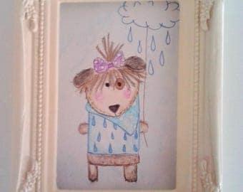 """Little pet"" watercolor, ideal for children's rooms"