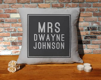 Dwayne Johnson Pillow Cushion - 16x16in - Grey
