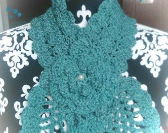 Crochet teal neck.