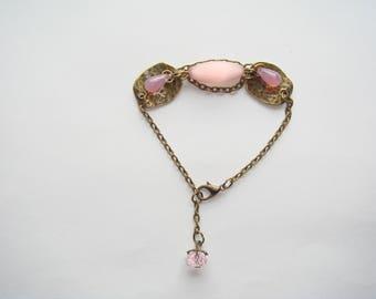 Pink bronze Pearl chandelier drop bracelet