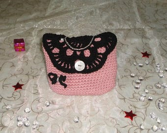 Women's wool pouch, purse, bag, pink and black crochet clutch