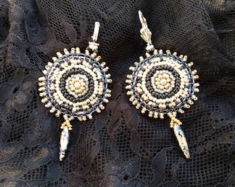 "Embroidered earrings ""Spirit of Christmas"""