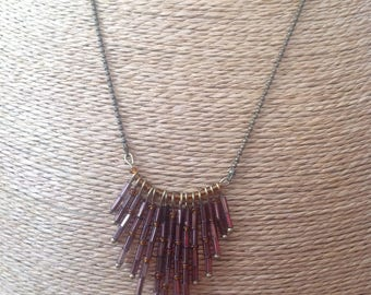 Necklace bronze and Burgundy color tube seed beads.