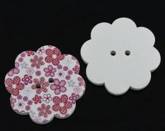 BBFL3724 - 1 wooden button shaped flower 37 mm