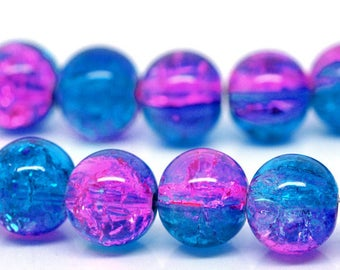 Set of 5 beads cracked glass - pink & Blue - 10 mm