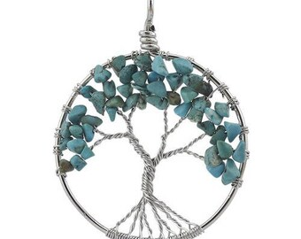 Tree of life silver plated - turquoise pendant
