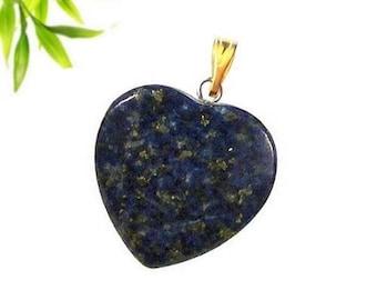 Heart pendant plated gold - lapis lazuli