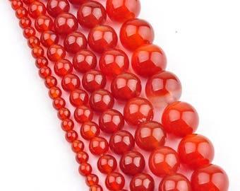 4 x 20 mm carnelian round bead