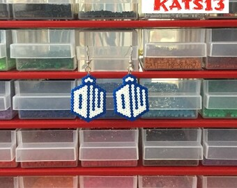 Earrings handmade Logo Doctor Who geek pixel art mini Hama
