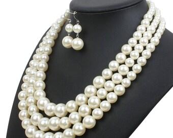 set of acrylic Pearl Jewelry Wedding silver metal