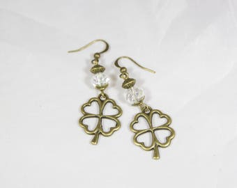 beautiful earrings wearing happiness, Crystal bead and bronzed metal