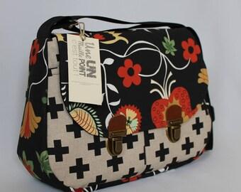 bag fabric satchel black rococo style 3