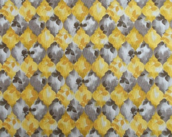Coupon fabric 90 x 110 cm - color yellow, Brown, beige leaf motifs