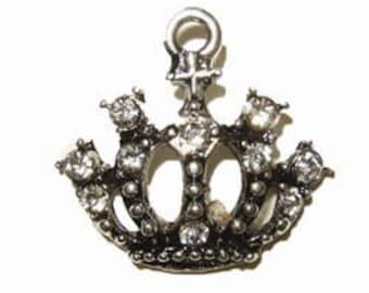 Silver rhinestone Crown charms.