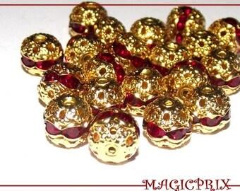 Lot 6 pearls Golden Filigranees Ø 8 mm 585 red rhinestones