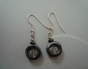 Earrings with hematite and faceted glass beads