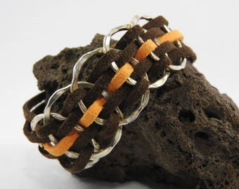 Bracelet suede 2 shades of Brown and orange clasp crab claw clasp
