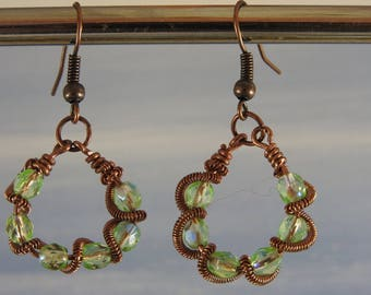 Dangling earrings crital wire copper wire wrapping beads