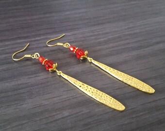 Long red drop Earrings