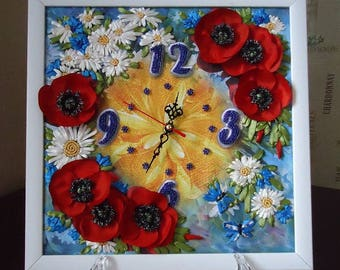 Clock Embroidery ribbons Maquis and chamomile Summer bouquet Flower decor on the wall
