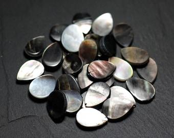8pc - Pearls Pearl black drops 16x11mm - 8741140023451