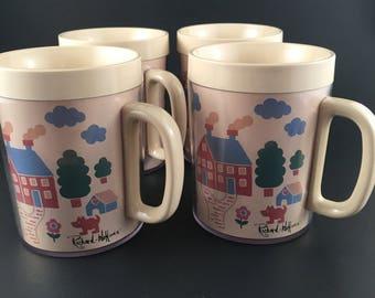 Unused Set of 4 Vintage Thermo-Serv Mugs Signed Artist Richard Hoffman