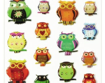 """Stickers Cooky embossed """"Owls"""" x 22 - MAILDOR - Ref 560407"""