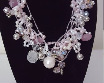 Feminine Choker Bridal Style Silver and Pink Beaded Necklace