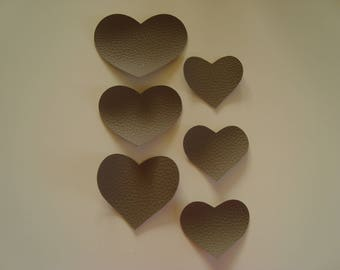 Applique hearts in Brown faux leather grained 3 coat sizes