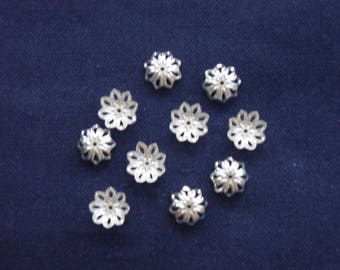 10 bead caps silver bead from 14 mm