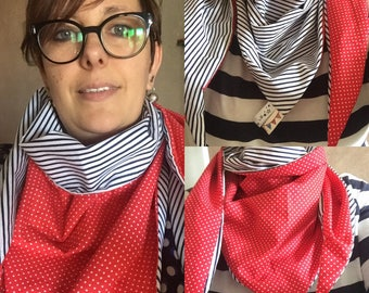 Lined, red and Navy Blue sailor scarf