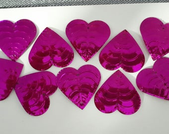 SET of 10 heart EMBELLISHMENTS pink good quality 38 X 38 mm to sew or A paste SCRAPBOOKING