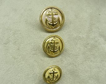 BUTTONS military anchor gold plated 22 mm