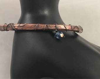 Copper Cuff with Blue Bead