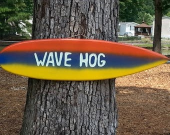 "Tiki Surfboard Sign Hand Made In The USA   ""WAVE HOG""  39"""