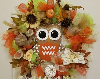 Fall Wreath, Autumn Wreath, Owl Wreath, Cheap Wreaths, Door Wreaths, Pumpkin
